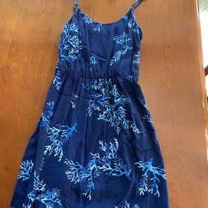 Blue coral thigh high dress